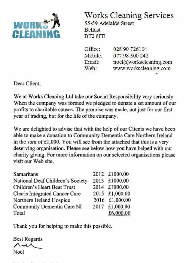 Works Cleaning Services Letter To Community Dementia Care NI